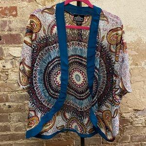 Angie Sheer Mandala Boho Kimono Size Small